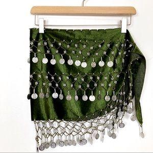 Vintage belly dancing skirt hip belt bedlah green
